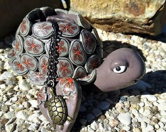 Turtle decoration is made of polymer clay necklace