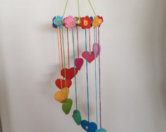 Beautiful crochet Hearts and flowers mobile, for the girls room