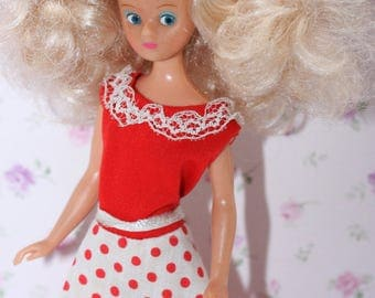 Vintage 1970 Clothed Daisy Doll Mary Quant.Long Red and White Spotty  Dress.