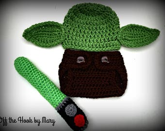 Crochet Yoda Inspired Hat and Diaper Cover Set/Light Saber/Multi-Size
