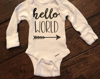 Hello world newborn onesie