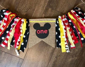 Mickey Mouse high chair banner. First birthday banner