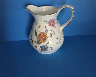 Wedgwood China;  Rosemead Pitcher;  England; 20 Ounce Pitcher; Pink; Orange, Green Gold Vibrant Colors