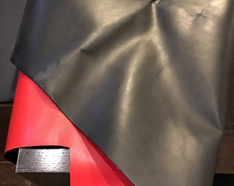 LIMITED OFFERING: Black Smooth Double Sided Leather! Limited quantity of full grain with italian red backing