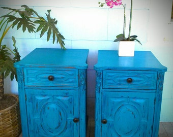 Vintage, Distressed, Bohemian, Blue End/Bedside Tables
