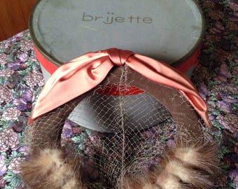 Vintage brijette mink hat with silk bow