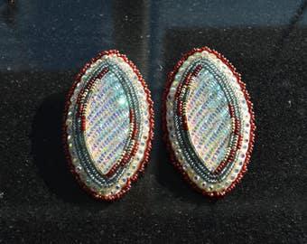 Horse eye shaped beaded earrings