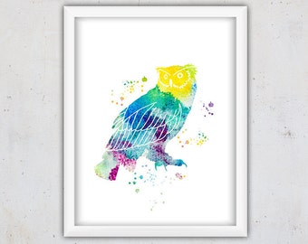 Owl Art Print, Owl Print, Nursery Owl Print, Watercolor Owl Print, Digital Print, Watercolor Print, Instant download Owl Print, Bird Art