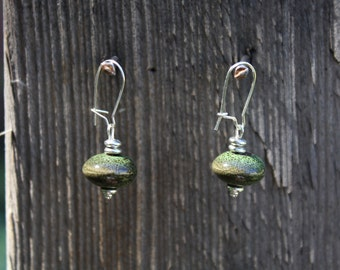 Martini Time! (Olive Green, Silver) earrings