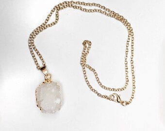 White and Gold Druzy Necklace, bridesmaid necklace, bridesmaid gift, geode necklace