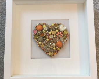 Beaded jewelled canvas heart...handmade gift...One of a kind