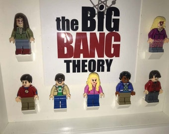 The Big Bang theory inspired frame with Sheldon, Leonard, Howard, Raj, Penny, Amy and Bernadette mini figures.