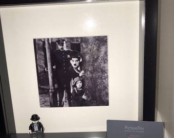 Charlie Chaplin. The Kid inspired frame with Charlie Chaplin mini figure. Gifts for him. Gifts for her. Silent Movie.