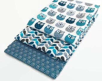 3 coupons Fat Quarter 50 cm x 50 cm - fabric mini Blue OWL - OWL - scandy blue leaves - saki star Japanese Asanoha teal