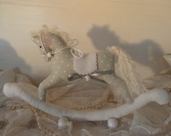 Rocking horse grey/white Tilda doll rocking horse doll birthday birthday gift