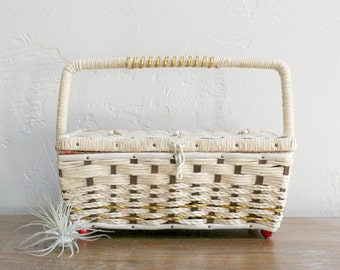 Vintage Sewing Basket, Woven Sewing Box, Retro Sewing Box, Sewing Kit, Rattan Storage Box, Sewing Storage, Storage Basket, Wicker Box