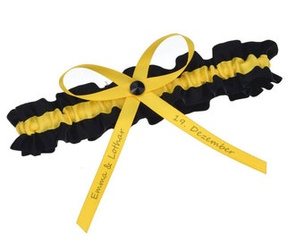 Bridal Garter black and yellow