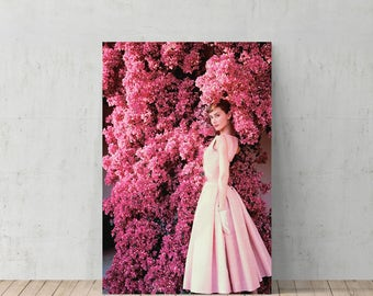 Poster audrey hepburn etsy audrey hepburn in pink flowers canvas print home decoriconic wall artgallery mightylinksfo Choice Image