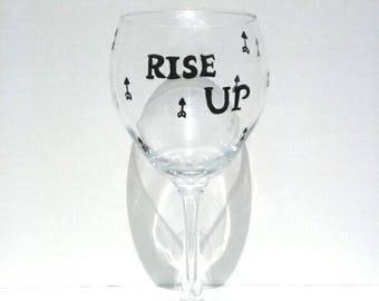 rise up rise against stand up hand painted unique wine glass painted