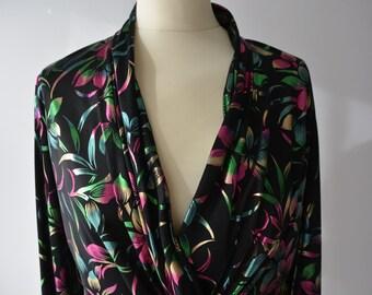 Vintage style ladies top, black with pink & green designs