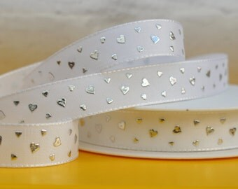 White Ribbon, Silver Hearts, 1 Meter Ribbon, 15mm Ribbon, Craft Ribbon, Christmas Ribbon, Birthday Ribbon, Christening Ribbon