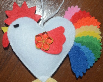 Felt rooster ornaments Symbol of the year New Year 2017 hen felt ornaments chicken Housewarming Christmas home decor fowl Baby shower