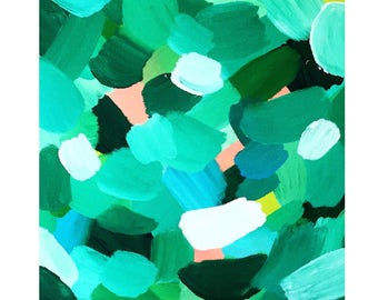 square abstract green jungle painting framed original canvas art