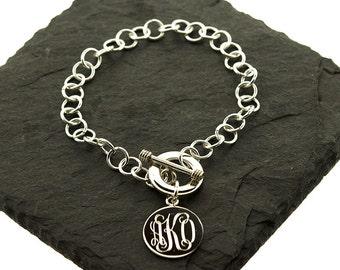 925 Sterling Silver Round Tag Monogram Bracelet, Circle Tag Bracelet, Disc Bracelet
