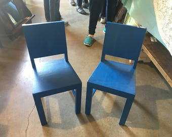 Pair of blue childerns chairs