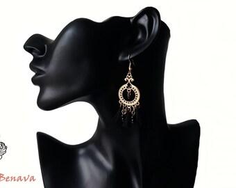 Earrings retro style black gold tassel of beads