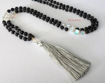 Boho necklace lava stone bead tassel black