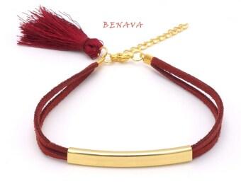 Tassel bracelet white gold fabric bracelet