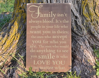 Family Isn't Always Blood Wood Sign family quote vinyl decal wood sign