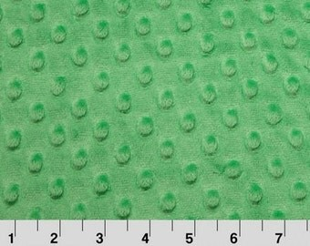 Shannon Minky Fabric, Shannon Dimple Dot Minky, Kelly Green Minky Fabric, Green Minky Dot Fabric, Minky Fabric By The Yard