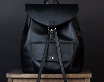 SALE!!! Black leather backpack. Leather rucksack. Womens backpack. backpack. simple backpack. Backpack for women. bookbag. knapsack.