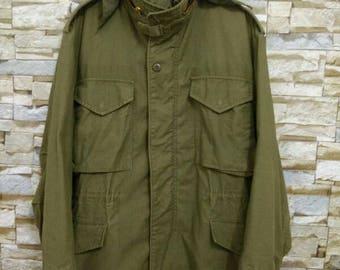 Vintage 60's Vietnam War Era M-65 OG-107 Field Jacket Army Military Hood Coat Medium Size USA Olive Green Jacket