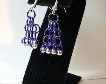 Purple and Silver Chainmaille Earrings - Chainmaille Jewelry - Chainmaille Earrings - Purple Earrings