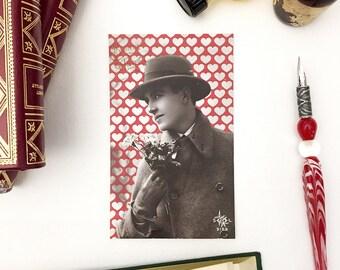 Postcard old mister love, red heart, heart, love, illustration and art