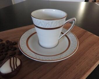 Upsala Ekeby Karlskrona  Sweden  mocha cup and saucer, mid-century modern
