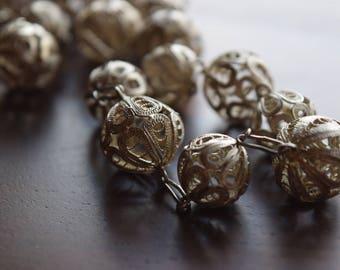 Antique European 800 Silver Opera Length Filigree Bead Necklace