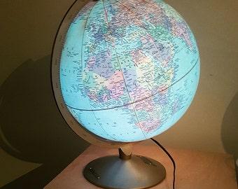 Vintage 1963 Replogle Illuminated 12 Inch Globe with Metal Base