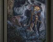 sleepy hollow art, sleepy hollow, headless horseman halloween, washington irving, halloween art print, spooky art, book art, book art print