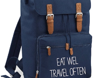 Eat well travel often Backpack - travel,wanderer,tumblr,globetrotter,gift,bag,rucksack,weekender,travel lover,map,world,