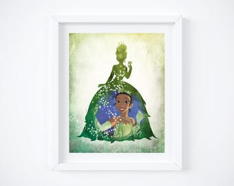 """Tiana from Princess & the Frog Silhouette Watercolor Art Print:  8"""" x 10"""""""