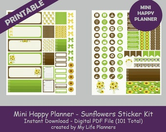 Sunflowers MINI Happy Planner Printable Stickers, Weekly Kit, Planner Kit, Planner Stickers, MINI Happy Planner, Instant PDF Download