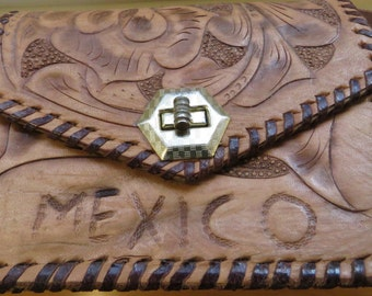 Vintage Hand-Carved, Hand Tooled and Etched Mexican Folk Art Leather Purse/ Shoulder Bag