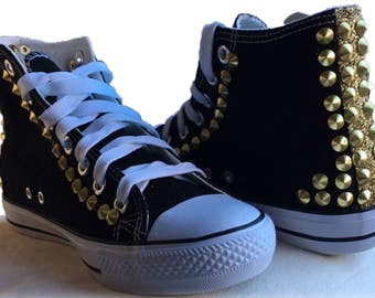Hi top canvas trainers with studs and glitters