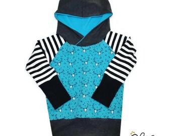 style scalable hoodie, evolutionary Sweatshirt Hoodie, evolutionary Hoodie, grey, black, deer by FEM Creations