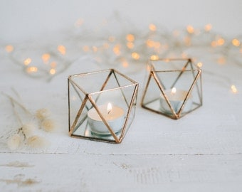 Glass candle holder with mirror base - Wedding Candle holder - Candle holder - Geometric terrarium - wedding ring box - Candleholders