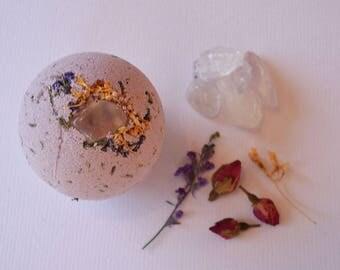 Divine Crown Chakra Crystal Bath Bomb, Herbs, Flowers, Quartz Crystal, Meditation, Cleanse, Angelic, Magick, Ritual, Chakra